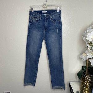 Good American Good Straight Raw Hem Skinny Jeans
